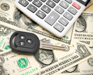 car key, money and calculator